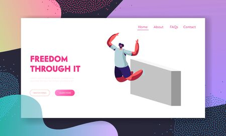 Parkour Website Landing Page, Young Man Jumping Over Walls, Urban Sport Activity, Lifestyle, Teenager Free Runner Doing Extreme Tricks on Street, Web Page. Cartoon Flat Vector Illustration, Banner