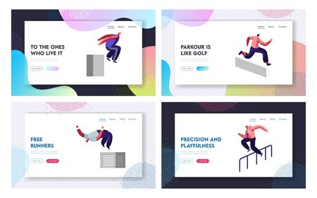 Parkour in City Website Landing Page Set. Young Men Jumping Over Walls and Barriers, Urban Sports, Active Lifestyle, Sport Activity, Tricks on Street Web Page. Cartoon Flat Vector Illustration, Banner