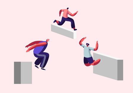 Parkour in City. Young Men Free Runners Training Outdoors, Jumping Over Walls and Barriers, Urban Sports, Active Lifestyle, Sport Activity. Teenagers Tricks on Street, Cartoon Flat Vector Illustration