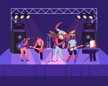 Illustration pour Rock Band Performing on Stage. Electric Guitarists, Drummer, Singer, Trumpeter Music Concert. Men Artists in Rocking Outfit Playing with Musical Instruments, Show. Cartoon Flat Vector Illustration - image libre de droit