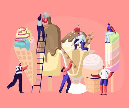 Illustration for Tiny Characters on Ladders Decorate Ice Cream. Summer Time Food, Delicious Sweet Dessert, Cold Meal. Different Types of Ice cream , Waffle Cone, Creme Brulee. Cartoon Flat Vector Illustration - Royalty Free Image