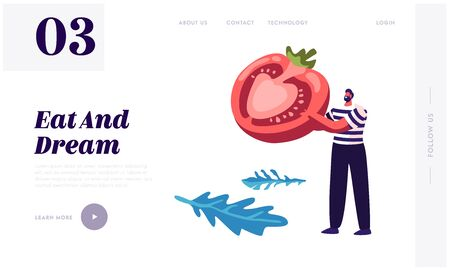 Healthy Food Website Landing Page Man In Striped Vest Holding Half Of Ripe Tomato In Hands Pizza Ingredient Bistro Italian Food Healthy Nutrition Web Page Cartoon Flat Vector Illustration Banner Royalty Free Vector