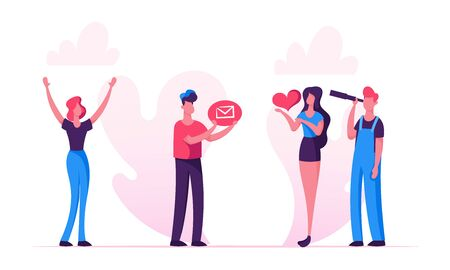 Social Media Relations, Blog, Woman Hold in Hands Heart Icon, Man Looking Through Spyglass, Blogging, Internet Communication, Profile Accounting, Email Concept Cartoon Flat Vector Illustration, Banner