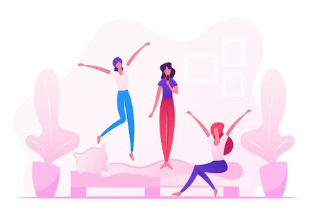 Home Party, People Fooling and Having Fun, Teenage Girls Jumping on Sofa Singing and Dancing on Couch in Room, Leisure, Relax, Childish Behaviour, Recreation Lifestyle Cartoon Flat Vector Illustration