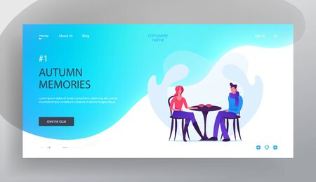 Illustration for Dating in Cafe Website Landing Page, Loving Couple in Autumn Time, Young Man and Woman Sitting at Table in Cafeteria Drinking Hot Beverage, Love, Web Page. Cartoon Flat Vector Illustration, Banner - Royalty Free Image