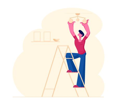 Illustration for Young Man Housekeeper Standing on Ladder in Living Room Hanging Lamp on Ceiling Decorating Interior Design - Royalty Free Image