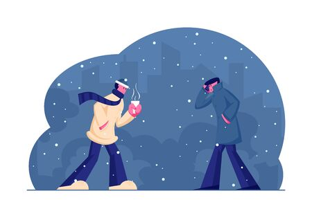 Chilled Passerby People Walking Against Wind and Snow on Street in Cold Snowy Autumn or Winter Weather. Characters Holding Cup with Hot Drink, Speaking by Smartphone Cartoon Flat Vector Illustration