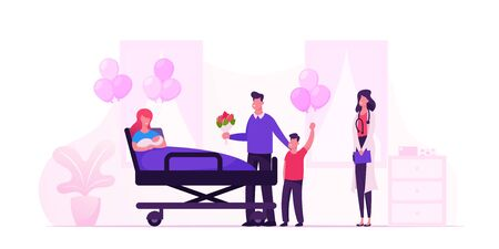 Illustration pour Happy Family with Newborn Baby in Chamber of Maternity Hospital. Delivery Childbirth Clinic Room with Mother in Bed and Medical Staff. New Born Child Mother Father Cartoon Flat Vector Illustration - image libre de droit