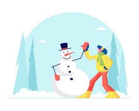 Young Woman Having Outdoors Fun Make Snowman at Winter Park. Wintertime Active Games, Amusement and Relax. New Year and Christmas Holidays Spare Time Recreation. Cartoon Flat Vector Illustration