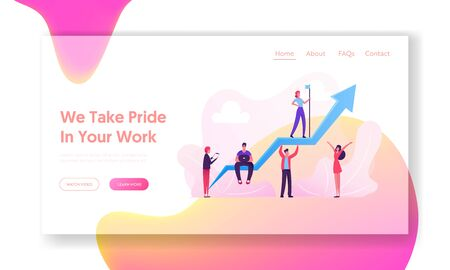 Illustration pour Leadership, Investment Growth Landing Page. Business Team Working around Huge Growing Arrow. Leader Stand on Top - image libre de droit