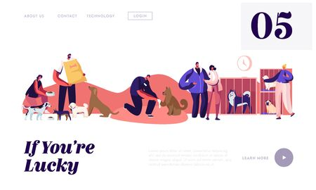 Illustration pour People Help Homeless Animals Website Landing Page. Kind Men and Women Adopting Pets from Shelter, Healing and Feeding Dogs. Pound, Rehabilitation Web Page Banner. Cartoon Flat Vector Illustration - image libre de droit