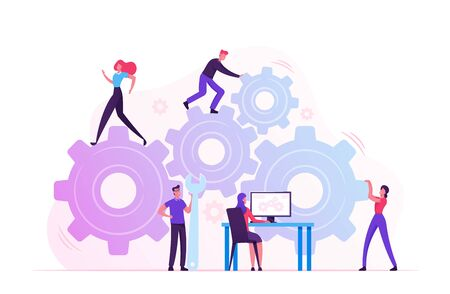Illustration pour Working Routine Process and Teamwork Concept. Male and Female Characters Moving Huge Gear Mechanism Using Wrench, Feet and Arms. Woman Managing Cogwheel Process at Pc. Cartoon Flat Vector Illustration - image libre de droit