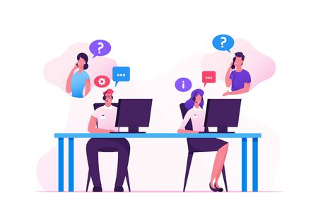 Vektor für Hotline Operators Help Clients to Solve their Problems. Smiling Friendly Male and Female Call Center Receptionists with Headset Working on Support Customers Line. Cartoon Flat Vector Illustration - Lizenzfreies Bild