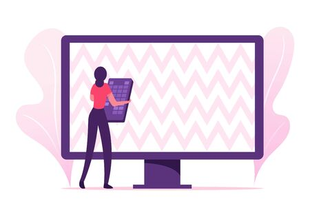 Woman with Remote Control Trying to Set Up Tv Programs. Digital Cable Service, Satellite and Global Wireless Connection, Dvd Center Player, Female User and Technics. Cartoon Flat Vector Illustration