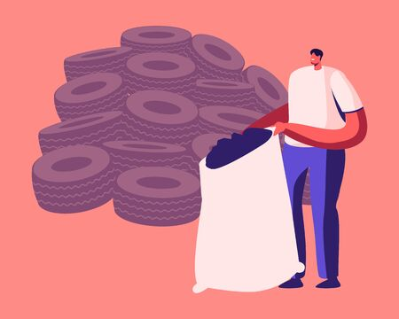 Illustration for Environment Protection Recycle Industry, Rubber Trash Reuse. Man Stand at Huge Heap of Old Tyres Holding Sack Full of Shredded Automobile Tires. Crushed Car Wheels Cartoon Flat Vector Illustration - Royalty Free Image