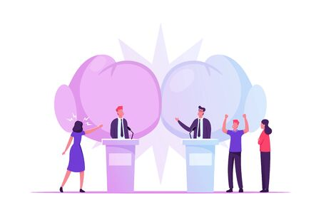 Political Debates, Pre-election Campaign Voting Process, Candidates Stand on Tribunes for Promotion and Advertising Interview, Active Political Discussion, Debating, Cartoon Flat Vector Illustration
