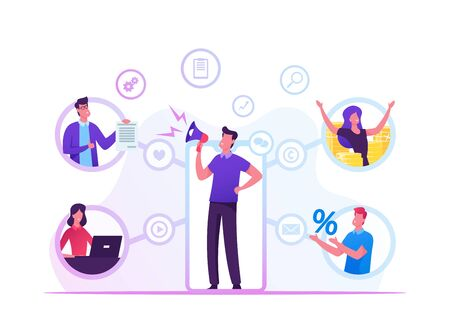 Illustration pour Referral Program Business Concept. Salesman Shouting to Megaphone Attracting Audience to Refer Friends. People Connected with Internet and Relationship Network, Cartoon Flat Vector Illustration - image libre de droit