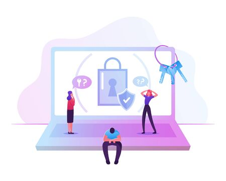 Illustration pour Sad Confused Man Sitting near Huge Laptop with Padlock and Shield on Screen Trying to Remember Lost Password - image libre de droit