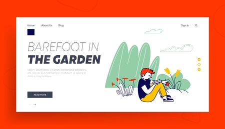 Summertime Vacation, Holidays Recreation, Relax Website Landing Page. Teenage Boy Sitting Outdoors in Garden