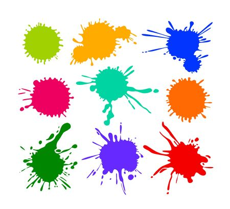 Illustration for Set of Cartoon Blots and Splatters, Multicolored Blob Icons Isolated on White Background. Bright Paint Brush Yellow Red Blue and Green Colors. Colorful Design Elements, Splashes. Vector Illustration - Royalty Free Image