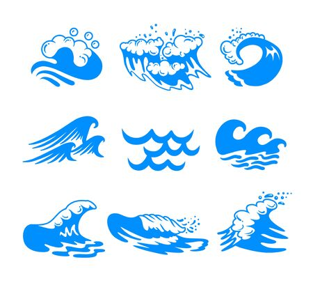Illustration pour Set of Blue Water Sea or Ocean Waves and Splashing of Different Shapes Isolated on White Background. Minimalistic Icons, Labels or Signs for Advertising Promo Banner. Vector Illustration, Clip Art - image libre de droit