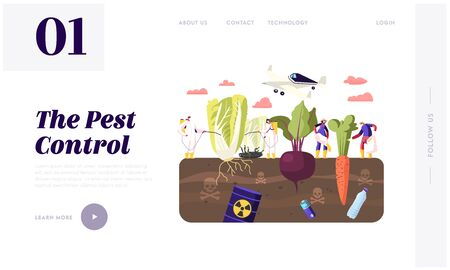 Illustration for Pest Control Landing Page Template. Workers Characters in Chemical Protective Suit Insecticide and Pesticide with Sprayers on Huge Vegetables in Toxic Polluted Soil. Cartoon People Vector Illustration - Royalty Free Image