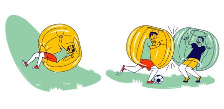 Boys Characters Having Fun Zorbing Recreation. Group of Teenagers Playing Soccer and Spending Time Outdoors inside of Zorb Balls. Summertime Activity Sport and Relax. Linear People Vector Illustration