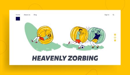 Boys Characters Having Fun Zorbing Recreation Landing Page Template. Teenagers Playing Soccer and Spending Time Outdoors in Zorb Balls. Summer Activity Sport Relax. Linear People Vector Illustration