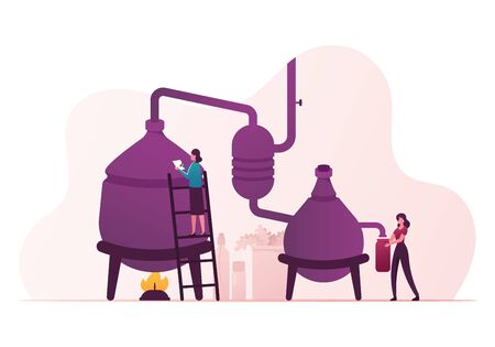 Illustration pour Essential Oil Creation. Characters Use Distillation Apparatus for Mixing Herbs and Organic Ingredients - image libre de droit