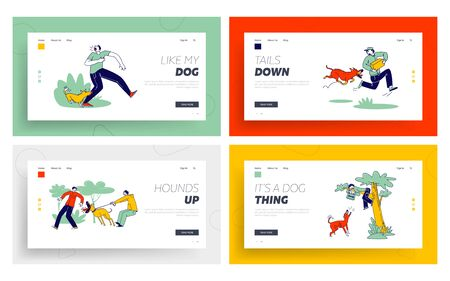 Illustration pour Dog Attack Landing Page Template Set. Aggressive Animals Biting and Barking on Characters. Delivery Man with Parcel - image libre de droit