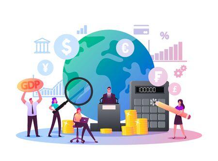 Illustration pour Macroeconomics, Gross Domestic Product. Tiny Characters Finance Gdp Money Budget - image libre de droit