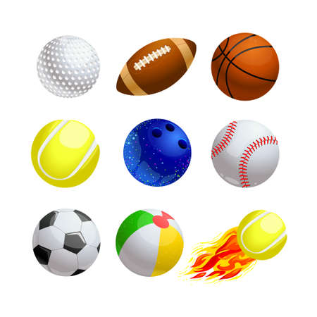 Illustration pour Set of Cartoon Balls for Sport and Leisure. Golf, Rugby and Basketball with Tennis and Bowling. Baseball, Soccer or Football, for Kids Games on Beach and Burning Ball with Fire. Vector Illustration - image libre de droit