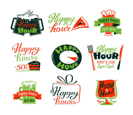 Illustration for Happy Hour Icons Set, Discount Special Offer for Cafe or Restaurant Visitors, Promo Labels with Beer Mug, Cake and Clock - Royalty Free Image
