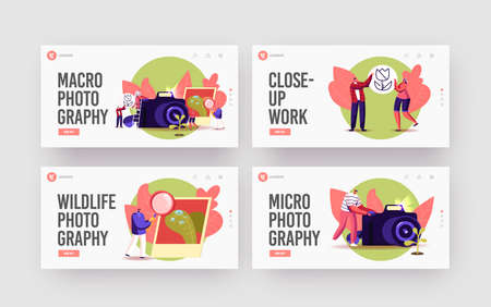 Illustration pour Tiny Photographers at Huge Camera Shoot Macro Photography Landing Page Template Set. Creative Characters Photographing - image libre de droit