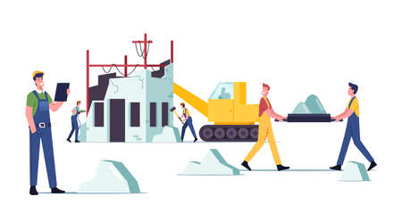 Illustration for Building Demolition Concept. Builders Male Characters in Uniform and Heavy Machinery Demolishing Old House, Hit Walls - Royalty Free Image