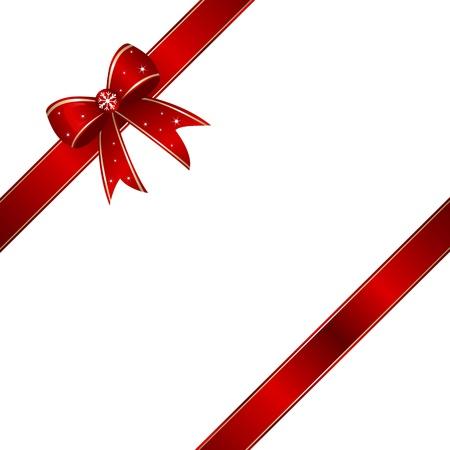Ilustración de Red giftbox ribbon knot with copy space. - Imagen libre de derechos