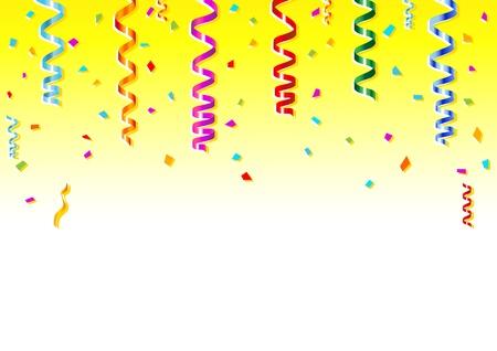 Vector illustration of multicolored confetti on white background.