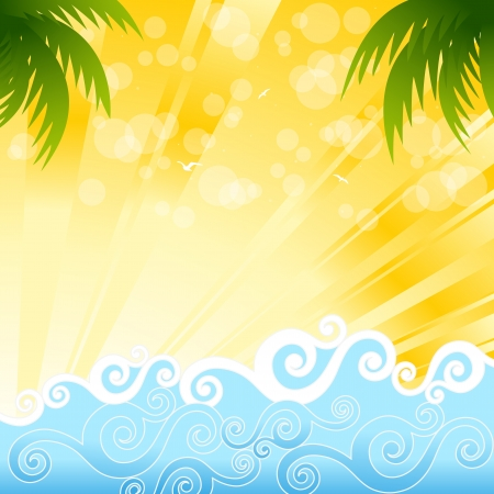 Tropical palm trees in the ocean, illustration