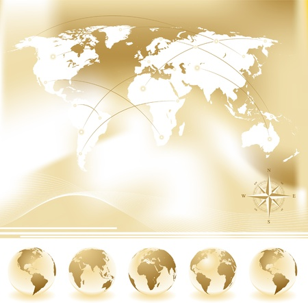 Vector set of World map with four globes and compass