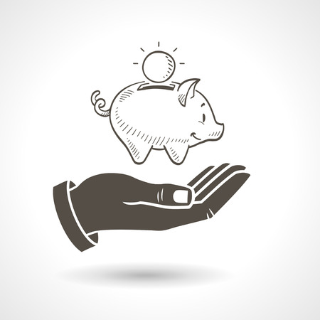 Hand holding a hand drawn piggy bank, vector icon.