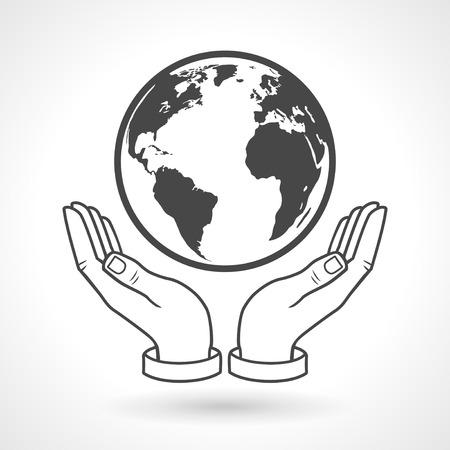 Hands holding earth globe symbol