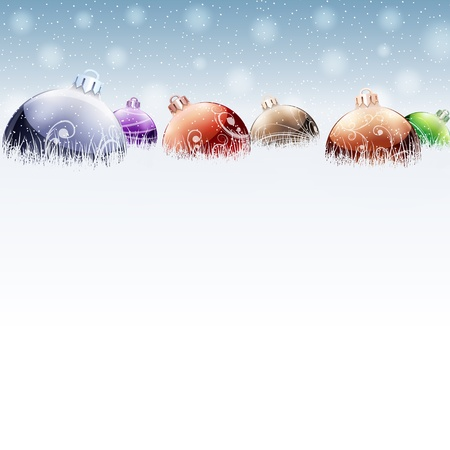 Christmas color baubles on snow