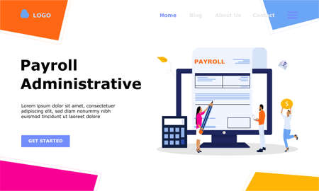 Illustration for Salary Payment Administrative Vector Illustration Concept , Suitable for web landing page, ui,  mobile app, editorial design, flyer, banner, and other related occasion - Royalty Free Image