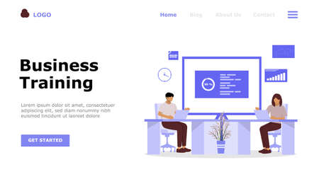 Illustration for Business Training or Courses Vector Illustration Concept, Suitable for web landing page, ui,  mobile app, editorial design, flyer, banner, and other related occasion - Royalty Free Image