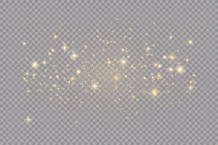 Illustration pour Set of golden glowing lights effects isolated on transparent background. Sun flash with rays and spotlight. Glow light effect. Star burst with sparkles. - image libre de droit