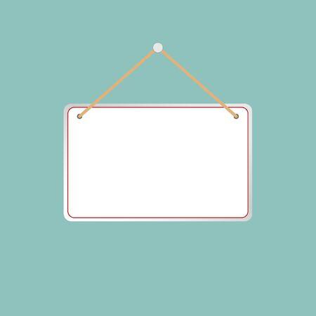 Illustration pour Illustration of a hanging sign against a light gray background. - image libre de droit