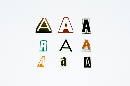 Set of collection colorful newspaper cut out letters as