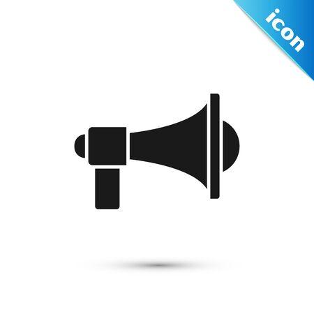 Illustration pour Black Megaphone icon isolated on white background. Loud speach alert concept. Bullhorn for Mouthpiece scream promotion.  Vector Illustration - image libre de droit