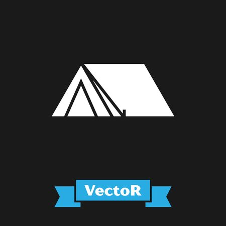 White Tourist tent icon isolated on black background. Camping symbol. Vector Illustration