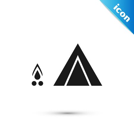 Black Tourist tent with wood fire icon isolated on white background. Camping symbol.  Vector Illustration